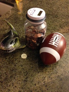 "The shark bank Sammy made, with his digital counting bank, and the most annoying ever football bank that yells ""Touchdown"" EVERY time you put a coin in."