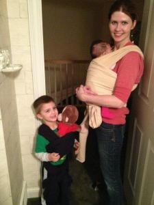 The whole family tried baby wearing