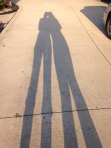 our shadows. After our LAST walk for ice cream.